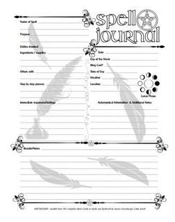WitchIt Good Spell Journal worksheet